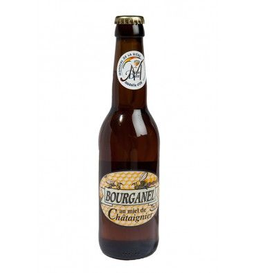 BOURGANEL MIEL / Bière artisanale de fermentation basse. Brassée par infusion   Contient de l'eau, malt d'orge (contient du gluten), houblon, miel de châtaignier de l'Ardèche (1.5 °)   Tenir au frais et à l'abri de la lumière. Déguster à la température de 8° à 10°