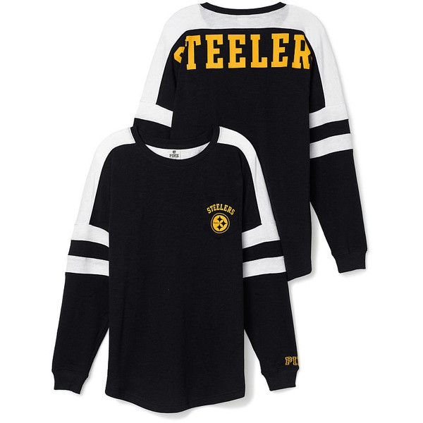 Victoria's Secret Pittsburgh Steelers Pocket Varsity Crew,yellow (54 AUD) ❤ liked on Polyvore featuring tops, pocket tops, crew top, oversized tops, blue top and long tops