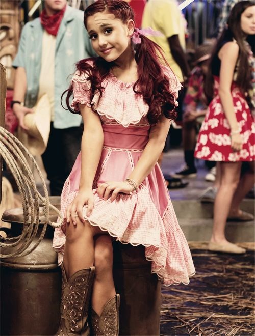 "Ariana Grande in ""Victorious,"" Cat as a Cowgirl."
