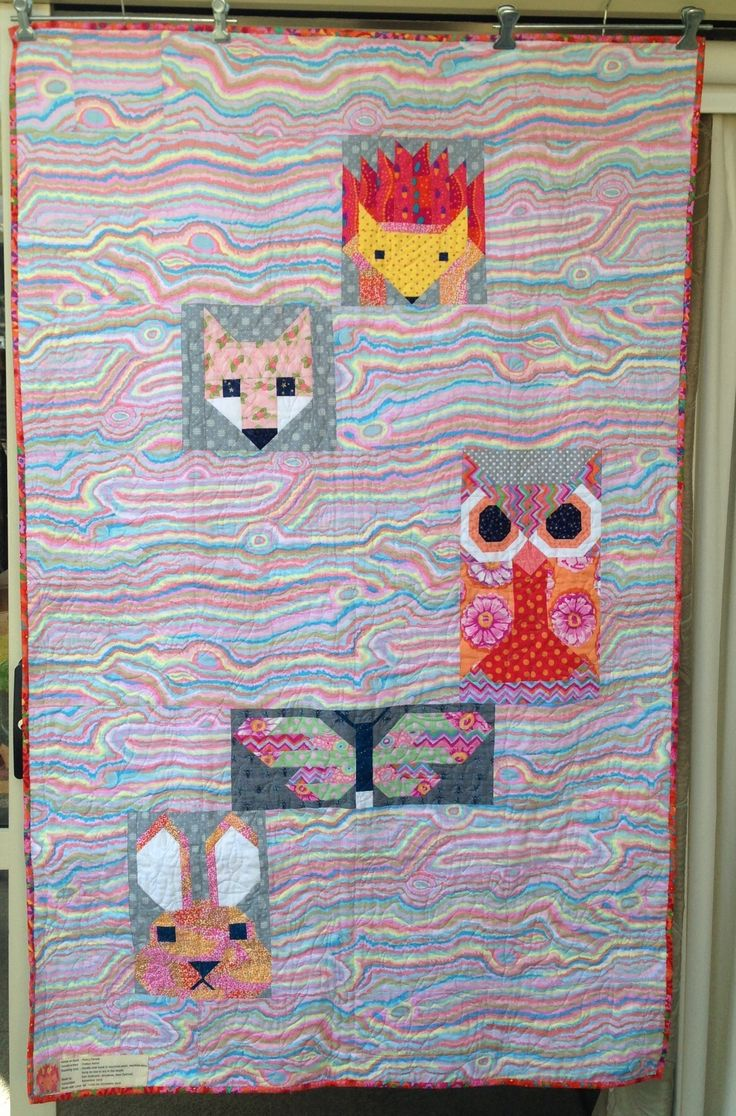 Back of Lilah's quilt. Elizabeth Hartman Fancy Forest animals