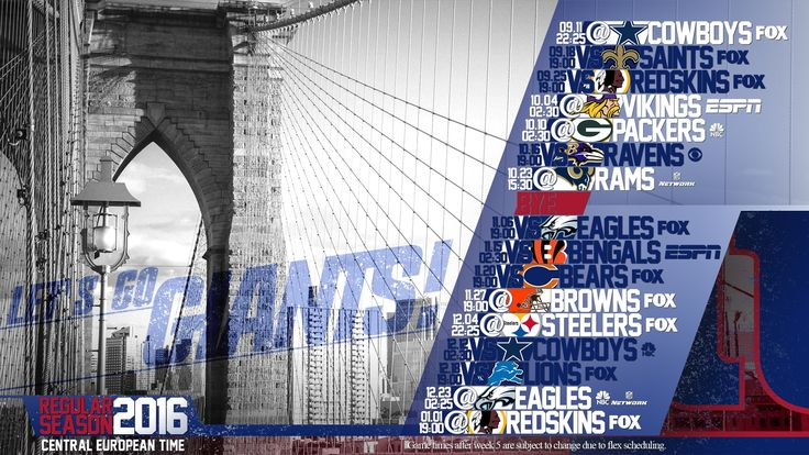 Schedule wallpaper for the New York Giants Regular Season, 2016. All times CET. Made by #tgersdiy