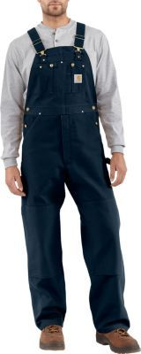 One of the most functional workwear garments you can buy. 11.75-oz. 100% cotton rigid denim construction. Multiple tool and utility pockets. Hammer loop. Triple-stitched main seams and bar tacks at vital stress points. Reinforced back pockets. High back with elastic suspenders. Leg openings made to fit over work boots. Waist sizes: 28-58. Inseams: 30-36. Color: Blue Denim. Carhartt Style No.: R08.