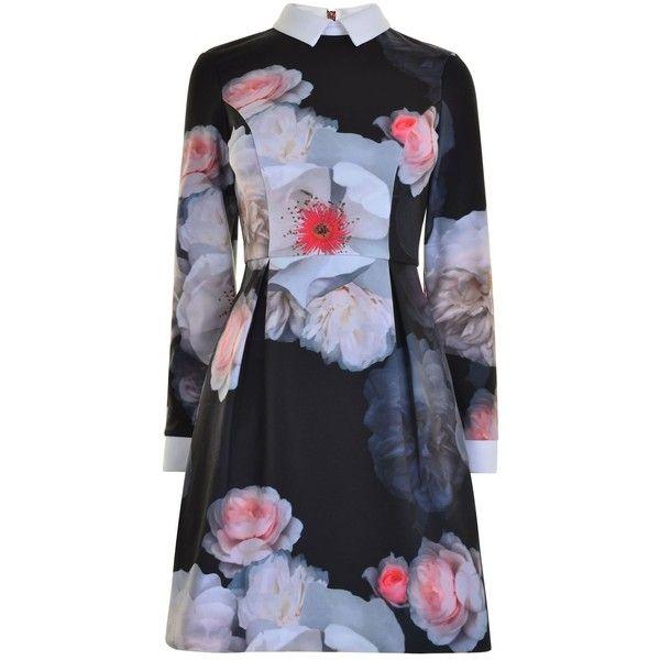 TED BAKER Kaleesa Floral Dress ($200) ❤ liked on Polyvore featuring dresses, floral skater dress, floral printed dress, long sleeve day dresses, long-sleeve skater dresses and ted baker