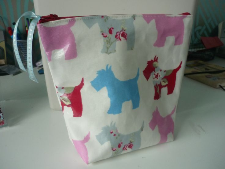 PVC Make-up bag featuring Clarke and Clarke Scottie Dog design