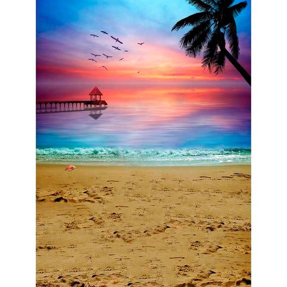 Beach Theme Photography Backdrops Ocean Sunset Sandbeach Photo