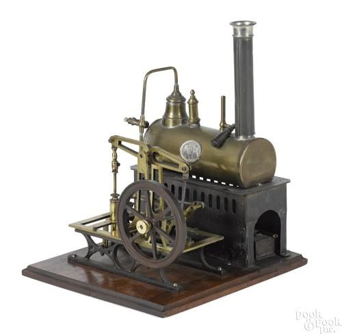 Ernst Plank steam plant with a copper boiler having a nameplate and finely crafted brass and iron - Price Estimate: $1000 - $1500