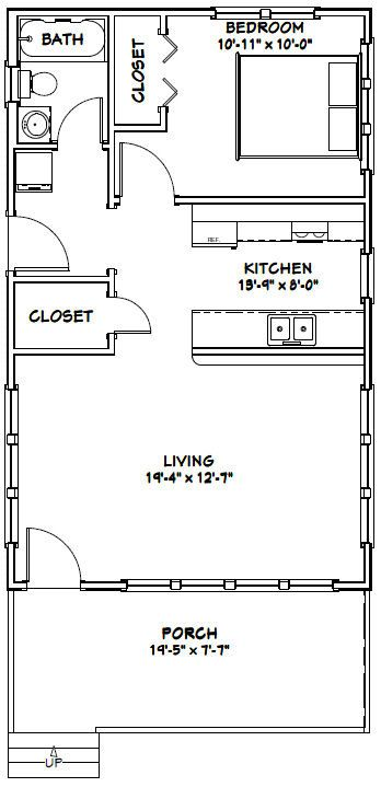 20x32 Tiny House -- #20X32H4D -- 640 sq ft - Excellent Floor Plans