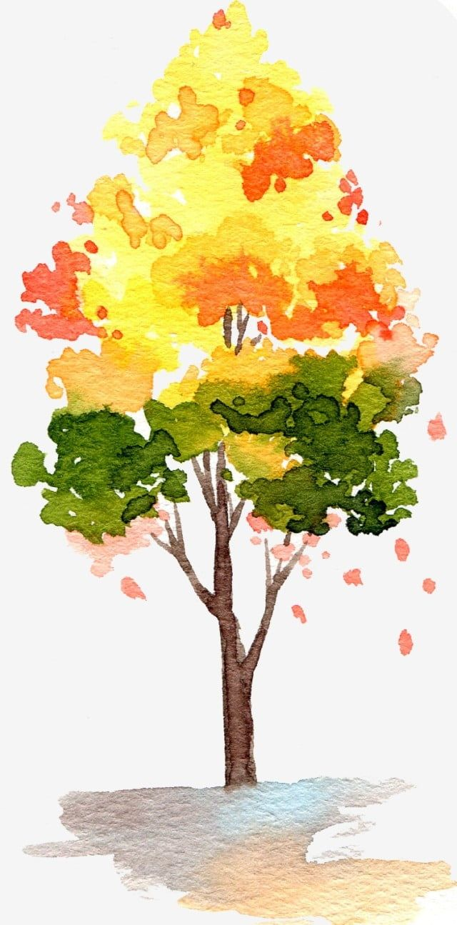 Cartoon Hand Drawn Watercolor Trees Yellow Leaf Orange Fall Png Transparent Clipart Image And Psd File For Free Download Watercolor Trees Watercolor Tree Nature Art Painting