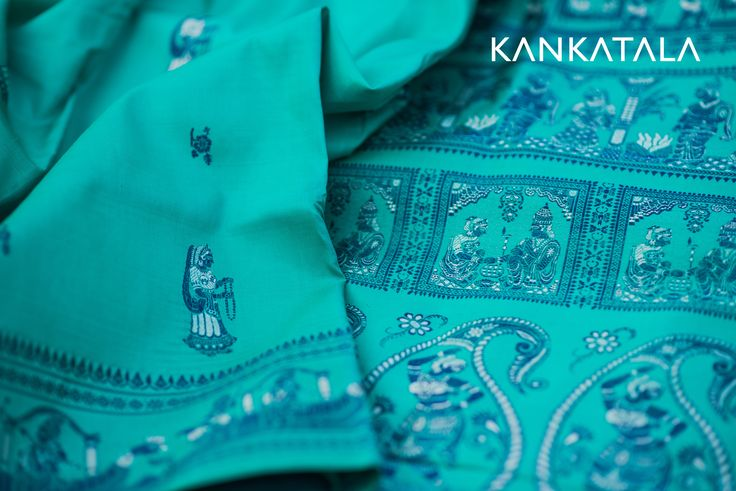 Baluchari sea green saree with blue thread weave of bride and groom in a marriage setting all over the saree, reminding you of the gracious indian wedding scenes inscribed all over the pallu and the border.  #kankatala #baluchari #marriage #wedding #saree #weave
