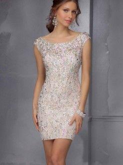 Sheath/Column Scoop Sleeveless Beading Short/Mini Satin Dresses