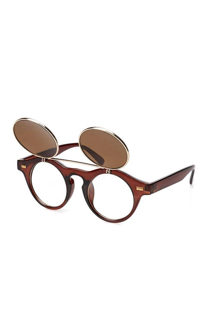 Round Flip-Up Sunglasses #21Men