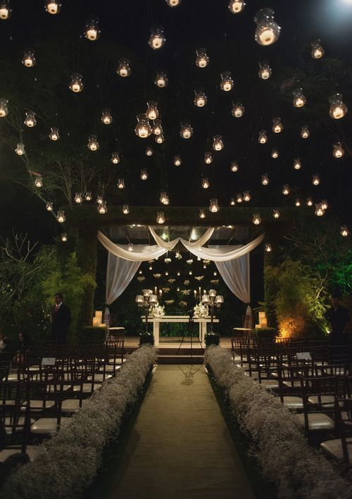 Home Decor and Lifestyle from Hello Lovely Studio: Outdoor wedding lit with starry lights. Romantic Wedding Lighting Ideas