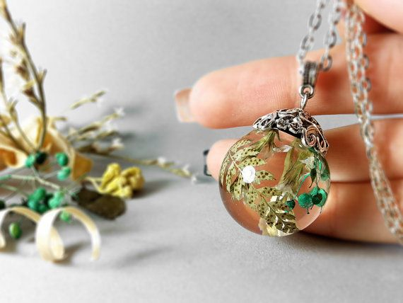 Real Fern resin sphere pendant Botanical jewelry  by ByEmilyRay