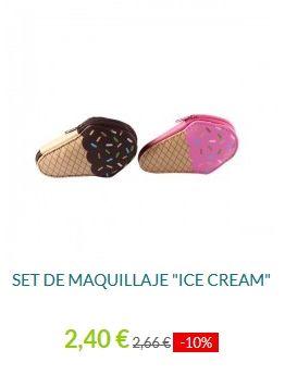 Set de Maquillaje ICE CREAM. Original, y práctico set de maquillaje con 5 pinceles en su interior, perfecto para el bolso o viaje