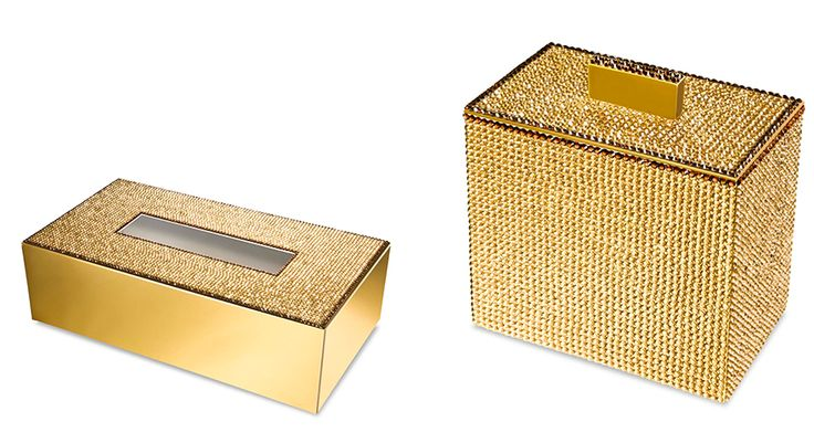bathroom tissues boxes, jars, toothbrush holders, soap dispensers and more with gold or silver finish, coated with hand placed Swarovski crystals