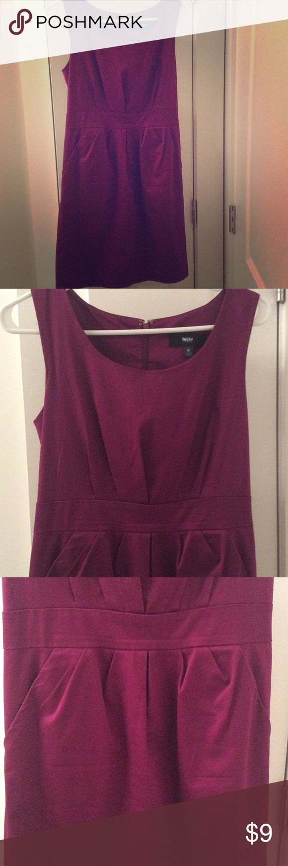 Purple Work Dress w- Pockets! Size 4! Purple dress with scooped neck, band at waist, and best of all, pockets! Size 4. This was bought as an in between regular, and maternity clothes work dress, since the empire type waist was forgiving to accommodated a growing baby bump. Excellent condition! Mossimo Supply Co Dresses
