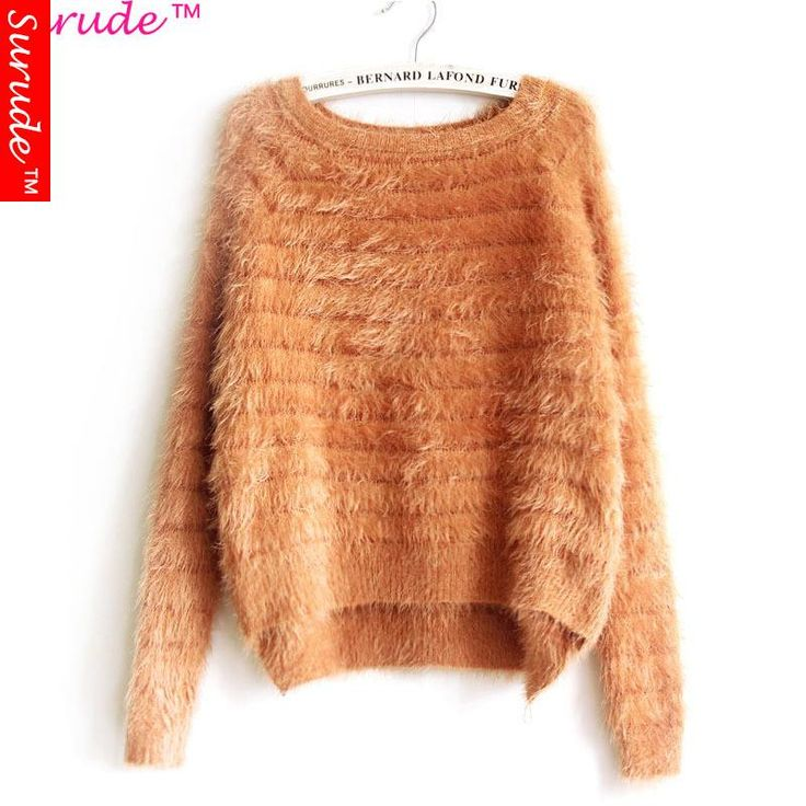nice 2015 New Winter Sweater Girls Plaid Cotton Women Solid Coarse Knitting Casual knitted tunic long sleeve pullover