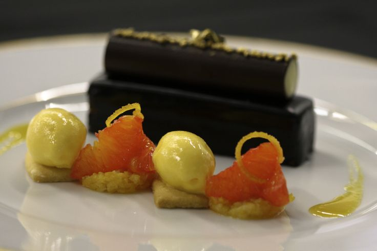Araguani chocolate and clementine, kaffir lime cremeux