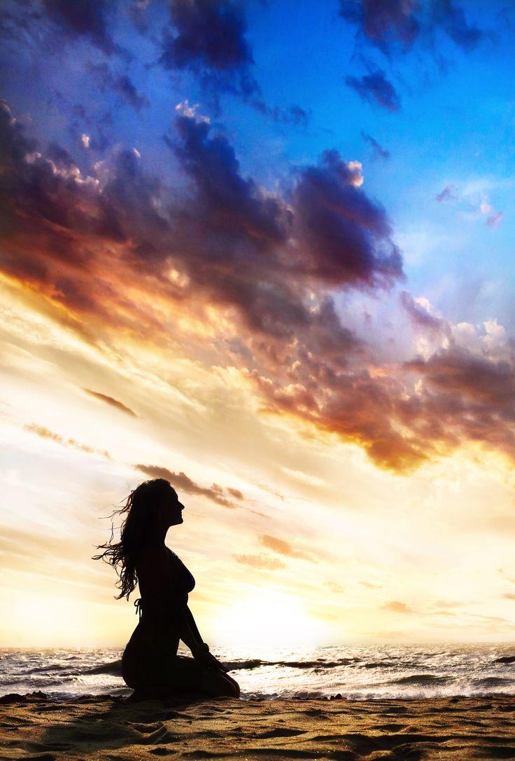 Yoga vajrasana thunder or diamond pose by beautiful Woman, sunset, vagator #beaches #goa #india #holidays #travel qnatours@gmail.com