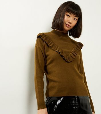 Olive Green Frill Trim Long Sleeve Jumper £7