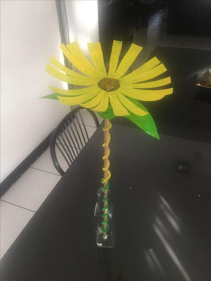 Sunflower from milk bottle