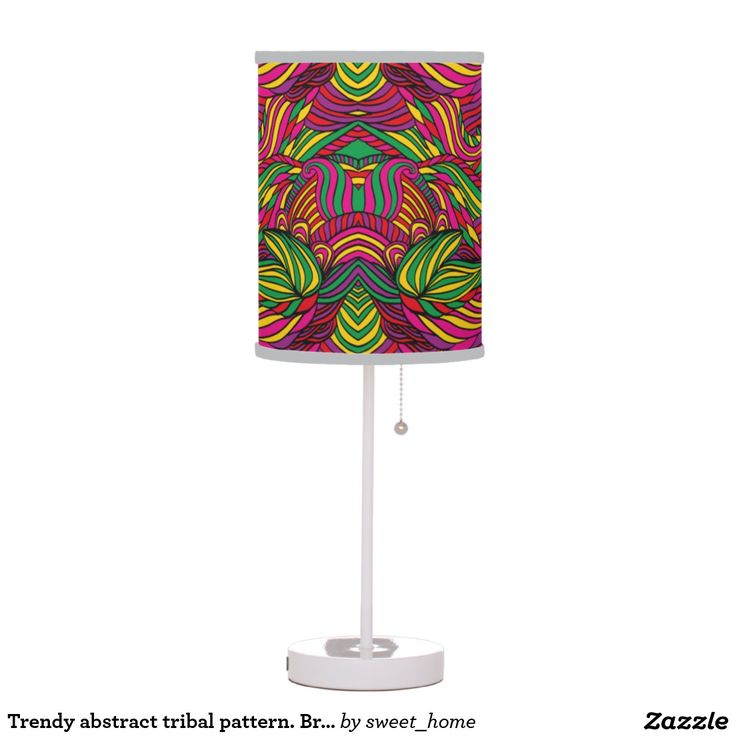 Trendy abstract tribal pattern. Brazil color. Desk Lamp  For home design and decor. Beautiful home accessories ideas. Brazil bright style.