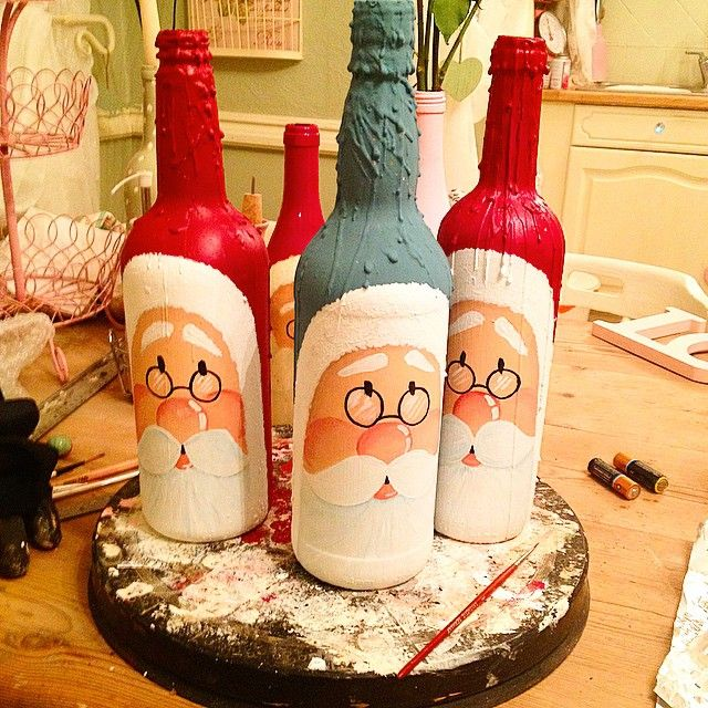Second stage done on these handpainted win bottles. #craft#hobbies#art#christmas#family#friends#santaclaus#recycle#upcycle#