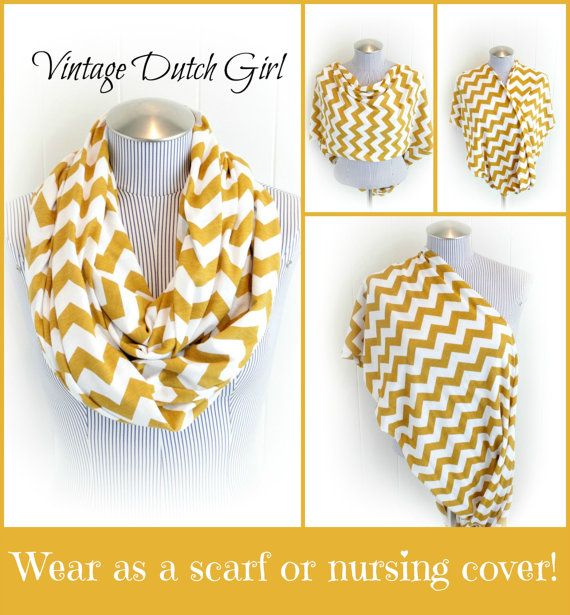 scarf & nursing cover?! genius    Chevron Infinity Nursing Scarf Mustard and by VintageDutchGirl, $21.99