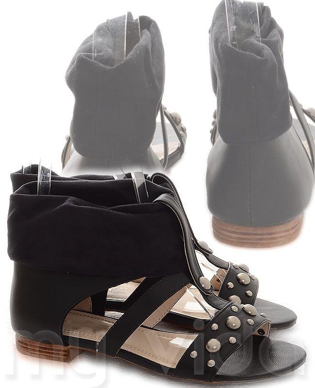 NERO - https://www.myvida.org - #Scarpe #donna tipo sandali in tela. Ciabatte stile gladiatore con borchie e tacco basso, scarpe estive in voga nella stagione primavera/estate #style #fashion #borchie #ideas