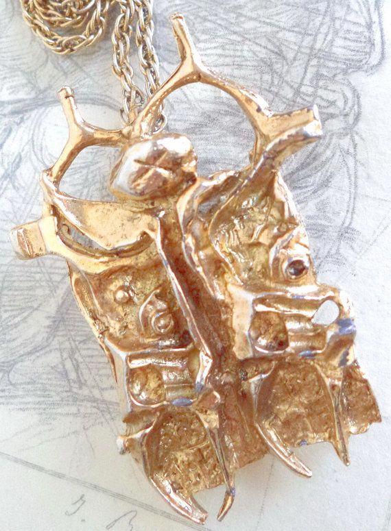 70s TUMARKIN brutalist Pendant Brooch Gold by MushkaVintage3