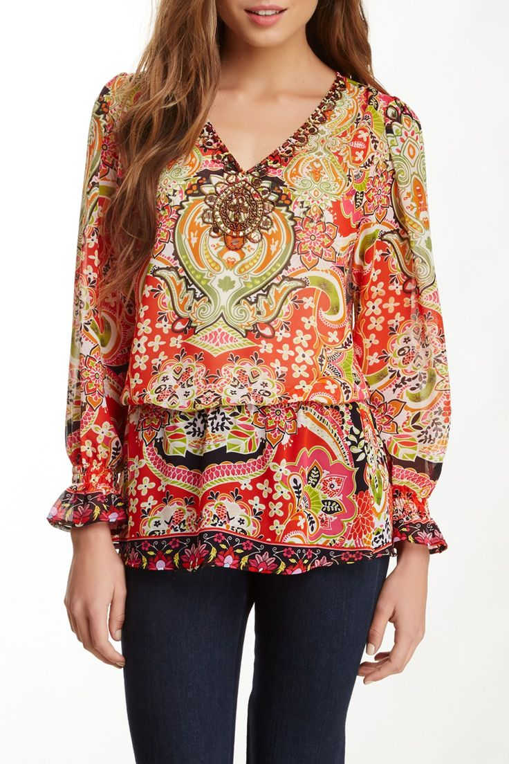 Beaded & Printed Blouse (Plus Size) by Sienna Rose on @nordstrom_rack