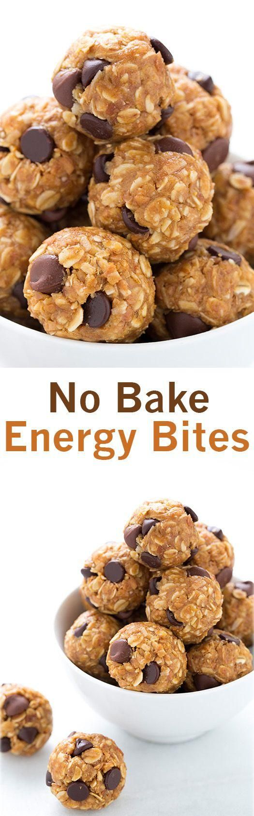 No Bake Energy Bites - these are the best snack EVER, and they're healthy! I make them all the time!                                                                                                                                                      More