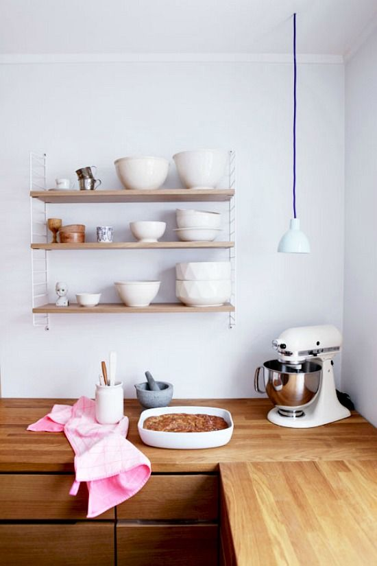 Kitchen. Wood Counter. Cabinets. Mixer. Cooking. Open Shelves. Pink. Decor. Interior Design.