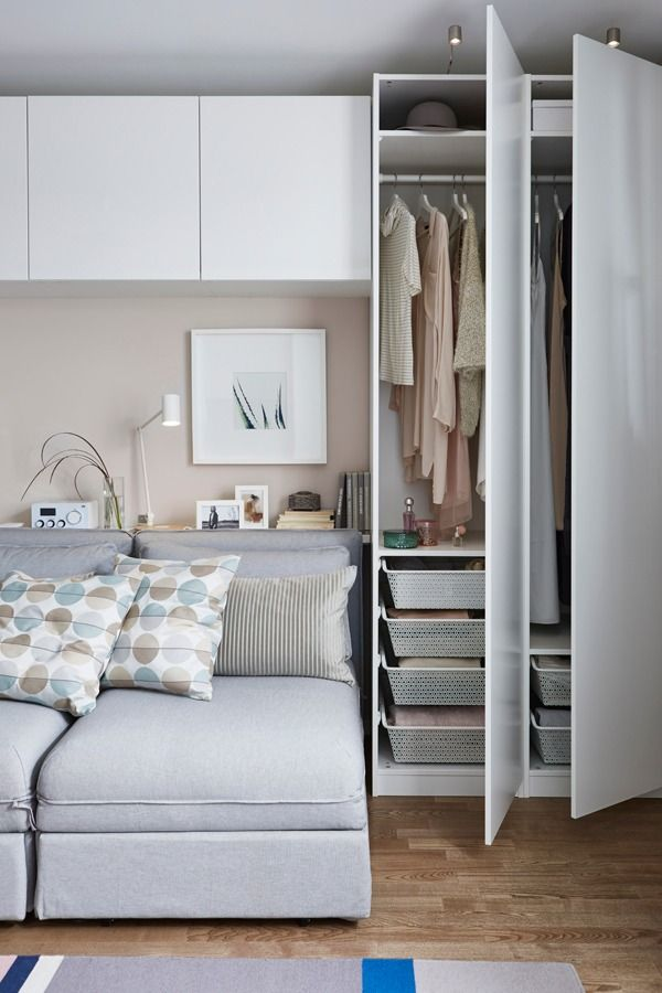 For 'you-choose-everything' kind of storage, look to IKEA PAX fitted wardrobes! You choose it all, from the size to the color and the style. Add IKEA KOMPLEMENT interior fittings to the inside so every shoe, shirt and scarf has its place.