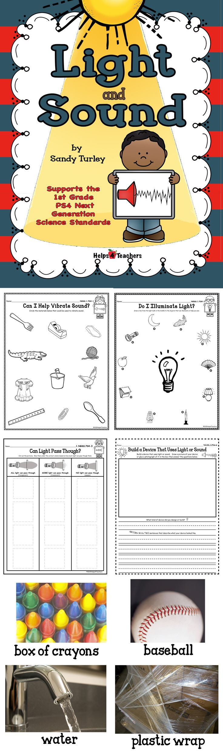 $ TERRIFIC!! This packet supports the 1st Grade New Generation Science StandardESS4 and includes the following things needed to teach this standard: -Can I Help Vibrate Sound? Activity sheet - Do I Illuminate Light? Activity sheet-Can Light Pass Through? Activity Sheet- Build/Design a Device That Uses Light or Sound Activity sheet. Also included are large and small full color photographs to help teach the lesson concept of this standard.