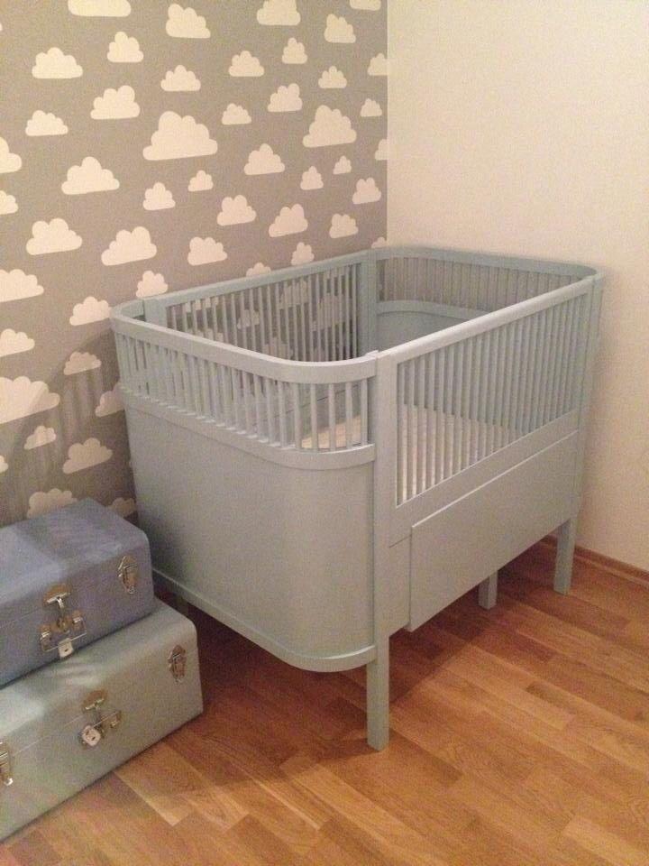 My babys room. Kili bed, wallpaper from Farg  Form Sweden, tin storage from Søstrene Grene.