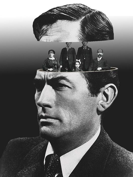 Gregory Peck. Photo collage and mixed media artwork by © Matthieu Bourel. °