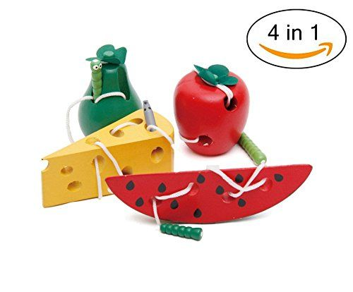 Loobani Kids Wooden Early Learning Educational Toys Beaded String Line Wearing Rope Baby Puzzle Children Wear Rope Caterpillars Lock Nice Gift 4 Packs In 1 Set  Help your child develop their imagination and coordination with these great toys!  The worm/caterpillar is attached to string and allows your child the opportunity of threading it through all the holes.  The mazing mouse cheese / apple pear watermelon and worm is a simple, pocket sized toy that's sure to entertain your child wh...