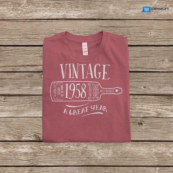 56th Birthday 1958 Birth Year Vintage TShirt by DesignInventPrint, $16.99