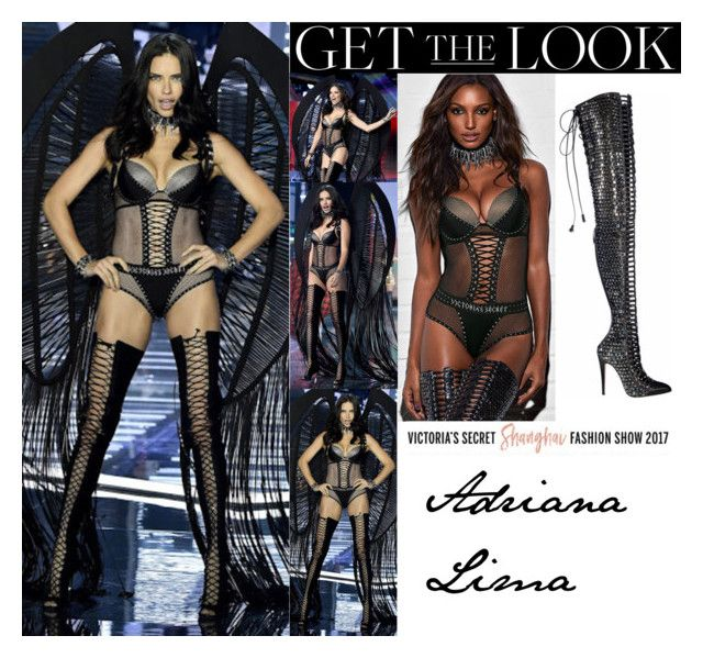 """""""Adriana Lima Victoria's Secret Fashion Show 2017 Shanghai Punk Angels"""" by valenlss ❤ liked on Polyvore featuring Balmain and Victoria's Secret"""