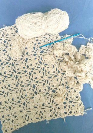 crochet lacy blanket in progress