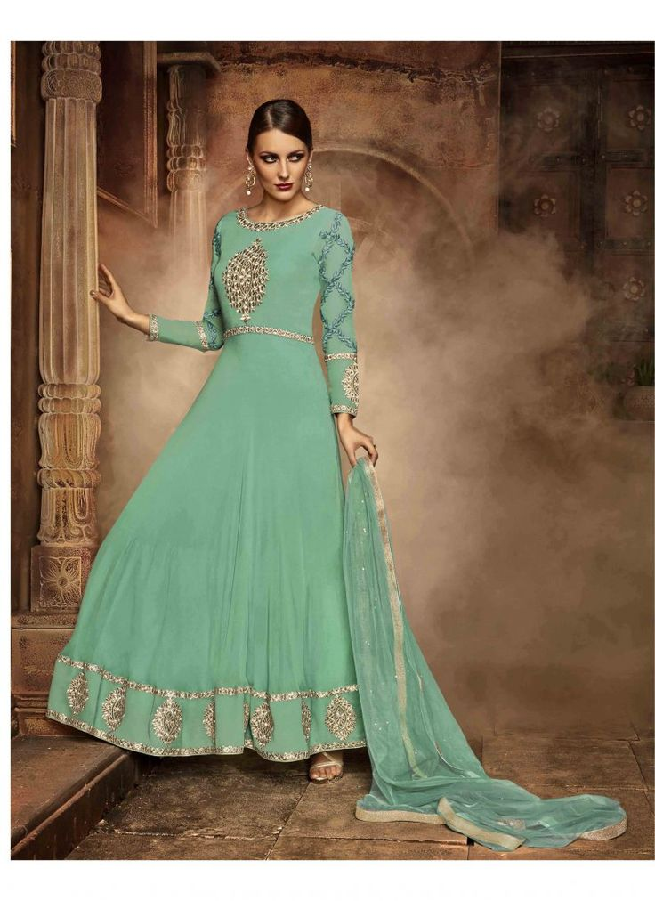 Fancy Designer Anarkali Collection Dark Sea Green Colored Salwar Suit