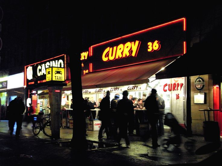 """Curry 36! That`s where you should eat your """"Currywurst"""" when you are in Berlin. Directly at the Mehringdamm the famous snack bar is always crowded sometimes even at 4 o`clock in the morning. But still you never have to wait more than 3 minutes to get your order and you can even eat there at 5 in the morning. It´s also easy to reach with the underground (""""Mehringdamm station"""") and definitely a spot for tourists as there ist a backpackers nearby."""