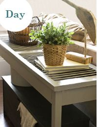 Window shutter repurposed into console table...instructions on HGTV.com