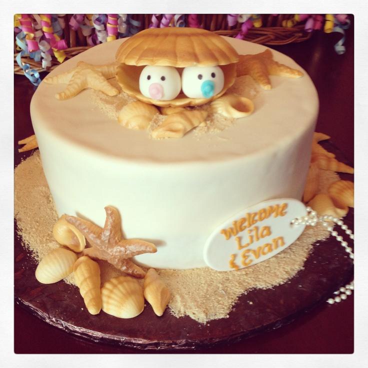 Twins Baby Shower Beach Theme Cake By Sprinkles Http://www.sprinklescakes.