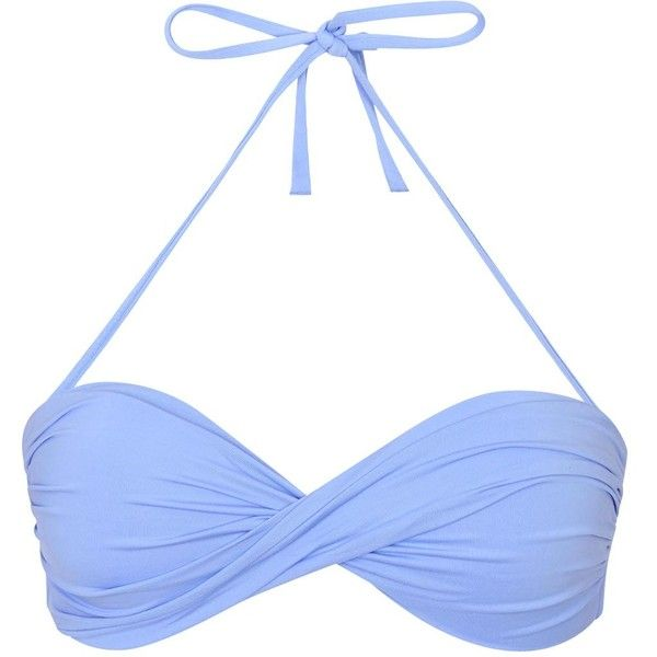 Womens Bikinis Melissa Odabash Martinique Light Blue Bandeau Bikini... (89 JOD) ❤ liked on Polyvore featuring swimwear, bikinis, bikini tops, bandeau top, light blue bikini, halter swimsuit tops and tankini tops