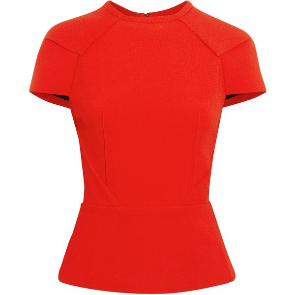 Roland Mouret Cymatia stretch-crepe peplum top (830 CAD) ❤ liked on Polyvore featuring tops, red, embellished top, zip top, embellished peplum top, zipper top and red top