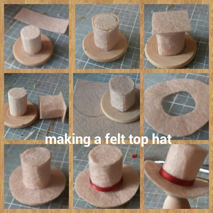 This is my tutorial for making a 1:12 scale top hat. You need felt (I used crafting felt it's quite thin) UHU glue, ribbon, a piece of dowel and wood disc.  I started by making a reusable hat form from the dowel and disc. At each stage when gluing ensure that the hat remains free from the hat form by sliding up and down. Use glue sparingly.