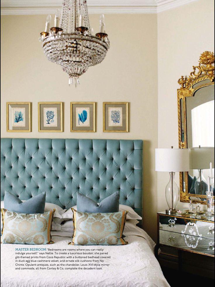 Love a robin 39 s egg blue velvet headboard robin 39 s egg for Velvet bedroom designs