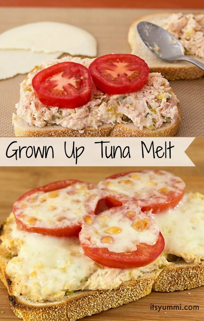 3 Easy Tuna Recipes, including this grown up tuna melt! This isn't your ordinary tuna melt!  It's jazzed up up with jalapenos, onions, celery, tomato, and Provolone cheese.